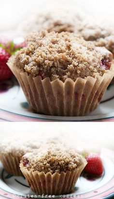 Karina's Strawberry Rhubarb Muffin Recipe with Streusel Topping #glutenfree