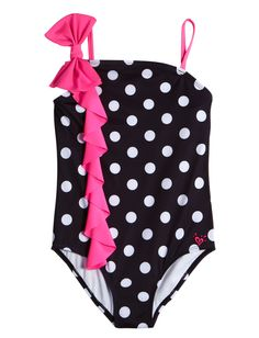 Shoulder Bow Polka Dot One Piece Swimsuit | One Piece | Swimsuits | Shop Justice