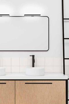 Selkeälinjainen musta Veronica ledvalaisin modernin kylpyhuoneen peilin päälle!  #veronica #valaisin #led #peili #kylpyhuonevalaisin #musta #mattamusta #kylpyhuone #kodinhoitohuone #wc #eteinen #remontti #inspiraatio #sisustuspeili #sisustus #skandikoti #modern #minimalistic #bathroom #bathroomdesign #interiordesign #design #scandinavianhome #stylish #helatukku Vanity, Bathroom, Black, Design, Dressing Tables, Washroom, Powder Room, Black People, Vanity Set