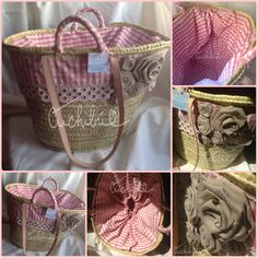 Capazo decorado con tela de algodón en rosa antiguo y beige, rematada con tira bordada y flores en lateral.