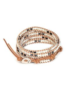 Chan Luu Mother-of-Pearl Onyx and Sterling Disco Wrap Bracelet