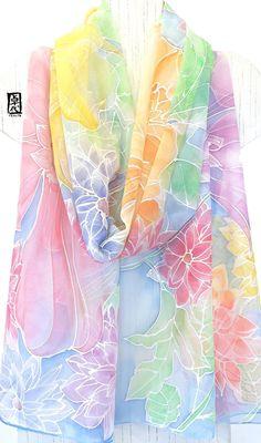 New 100/% Silk Oblong Scarf Art Paint Humming Bird Pink