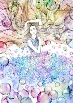 Floating bubbles illustration by Camilla Locatelli