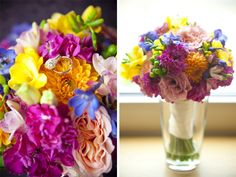 Love these colors for the girls flowers pops of blue with mostly pink and a little yellow!