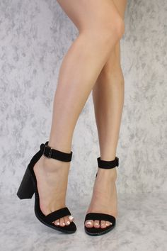 Black Buckle Detailing Open Toe Single Sole Chunky High Heels Suede