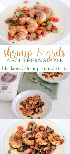 This shrimp and grits recipe is so delicious and super easy to make too!  Blackened shrimp with gouda grits is a southern staple in our house.   Shrimp and Grits Recipe: Blackened Shrimp with Gouda Grits http://eatdrinkandsavemoney.com/2017/02/20/10488/