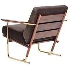 "Vermeil ""RA40"" Armchair by Pedro Useche Imbuia Wood Brass Legs"