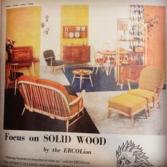 #1958 #magazine #advertisement for #ercol #windsor #furniture in #elm #wood ~ the Windsor chair, popular in the #1950s , was introduced by #lucienercolani at the #britaincanmakeit #exhibition in #1946 ~ find the #settee with #matchingpair of #sidechairs at #danishmodernsandiego #indiastreetantiques @littleitalysd #ilobsterit