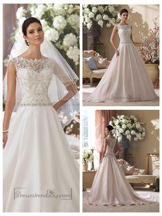 illusion-and-scalloped-lace-bateau-neckline-a-line-wedding-dresses.jpg (900×1200)