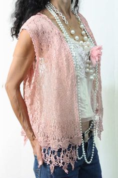 Lace Vest Venetian Trim With Flower pin by KisKissay on Etsy, $35.00