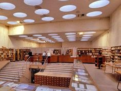 This is the Viipuri Library by Alvar Aalto. I love it because the librarians can survey their domain and there is beautiful natural light.