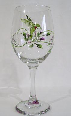 Humming Bird Wine Glass