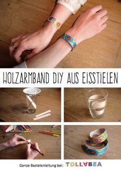 Tolla Holzarmband DIY aus Eisstielen Tolla wooden bracelet DIY from ice cream sticks Diy Jewelry Rings, Diy Jewelry Unique, Diy Jewelry To Sell, Diy Jewelry Holder, Diy Jewelry Tutorials, Diy Jewelry Making, Jewelry Box, Popsicle Stick Bracelets, Popsicle Stick Crafts