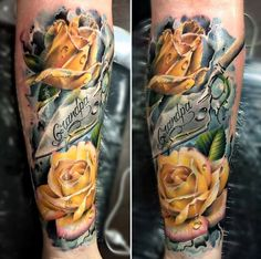 yellow roses on leg - 40 Eye-catching Rose Tattoos  <3 <3