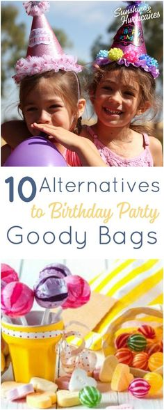 10 Alternatives to Birthday Party Goody Bags. Cute, Clever and Creative ideas for party favors that aren't junk. Kids Birthday Parties|Party Favors|Goody Bags|Alternatives to Goody Bags| Birthday Party Ideas|Affordable Party Favors via @sunandhurricane