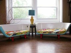 bathtub couches with anthro quilts