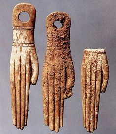 Ivory amulets shaped like a hand, Punic necropolis, Palermo, 6th-5th century BC. Egyptian religious influence
