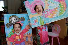 Pink and Green Mama: Birthday Party Highlights: Pirates and Mermaid Party Silly Face Posters