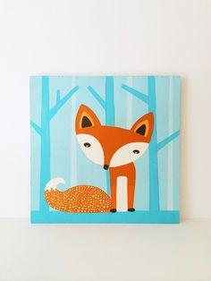 Fox Nursery Art - Fox Decor - Fox Art - Fox Painting - Blue Nursery Decor - Woodland Nursery - Cute Fox Art - Baby Shower Gift