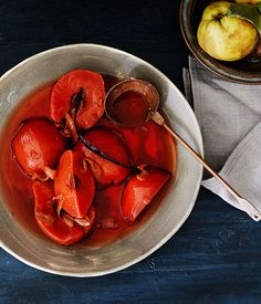 Slow-poached quince