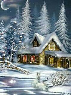 Merry Christmas (click the image -- it twinkles -- W should like it) Christmas Scenery, Winter Scenery, Country Christmas, Christmas Pictures, Christmas Art, Christmas 2017, Halloween Wallpaper, Christmas Wallpaper, Illustration Noel