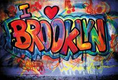 New York Photo Postcard I Love Brooklyn Grafitti Picture. New York Graffiti, Graffiti Murals, Graffiti Lettering, Graffiti Artists, 3d Street Art, Street Art Graffiti, Street Artists, Graffiti Photography, Sidewalk Chalk Art