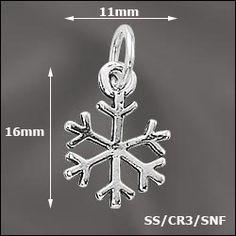 WJ  SS/CR3/SNF | STERLING SILVER CHARM - SNOWFLAKE