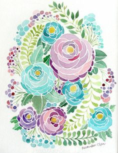 chasingthegreenfaerie:  http://www.etsy.com/listing/152499318/purple-and-blue-flower-watercolor?utm_source=Pinterest&utm_medium=PageTools&utm_campaign=Share