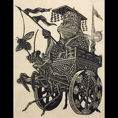 Master and Servant #linocut #printmaking #japanese #frog #prayingmantis #bee #attacktheplanet by brianreedy