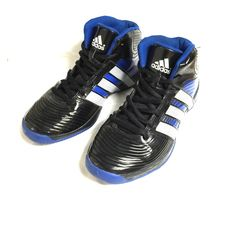 Adidas Black and Blue high top Still in great condition except for 2 small white scuff you see on the last photo. No holes, no rip or torn and no stain. Black and blue basketball high tops. Size 7. Thanks for looking and pls don't forget to ask questions. Adidas Shoes Athletic Shoes