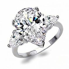 Sterling Silver CZ Pear Shape Three Stone Engagement Ring 4.5ct