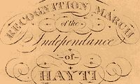 """The presence of a nation ruled by people of color near the United States was an inspiration to African Americans. Haiti--the spelling """"Hayti..."""