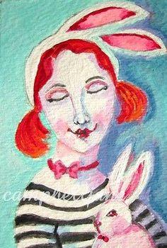 Easter Bunny Original ACEO Painting Portrait Woman Girl Costume Miniature ATC