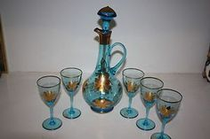 Antique Glass Wine Decanter Set with Blue Glass and Gold Overlay from Roumania Wine Decanter Set, Fenton Glassware, Hannukah, Old Bottles, Cordial, Antique Glass, Overlays, Wine Glass, Porcelain