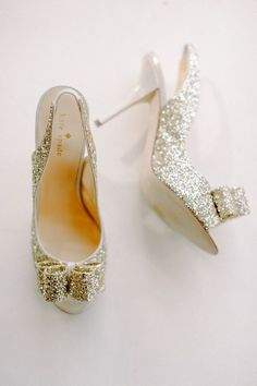 Kate Spade glitter heels - photo by Sera Petras Photography http://ruffledblog.com/relaxed-and-elegant-wedding-in-charlottesville #weddingshoes #shoes