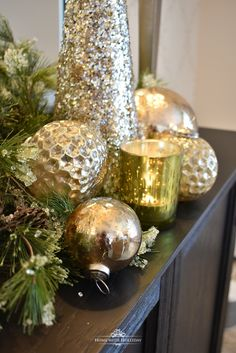 Silver and Gold Glam Christmas Centerpiece - Home with Holliday Silver Christmas Decorations, Christmas Tablescapes, Christmas Mantels, Christmas Table Decorations, Christmas Home, Christmas Ornaments, Holiday Decor, Christmas 2019, Christmas Vignette
