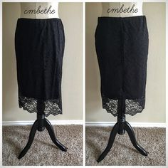 Black Knee Length Lace Skirt S Good condition. Size S (seems to run big, may fit M or even L better). Black lace. Stretchy waist. Small slit towards lower back hem. Displayed on dress form 34-26-36. 5'7. Happy poshing! Mossimo Supply Co. Skirts Midi