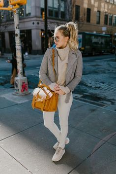 On,the,Go Neutral Look. Payton Sartain wears a neutral spring outfit in New  York City