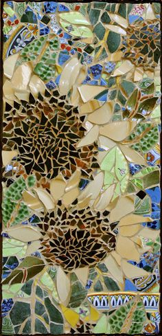 Potted Sunflowers                             NFS 38 x 17 inches  Mosaic Panel framed in Wormy Chestnut © 2003 by Artist Therese Desjardin Studio