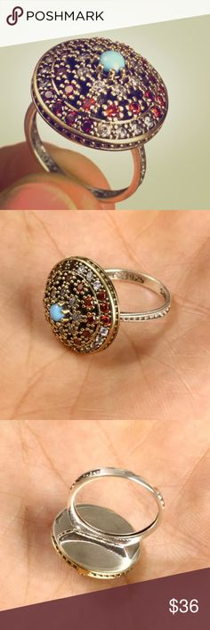 """💠RUBY TOPAZ+TURQUOISE•925 SILVER & BRONZE RING💠 💠RUBY TOPAZ TURQUOISE .925 SILVER & BRONZE RING • SIZE 8 • This Ring is 6.40 grams. Head size is 0.80"""". Ring Size is 8 Hallmarked with the 925 stamp. Made in EUROPE with High Quality Workmanship!💠 Jewelry Rings"""