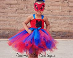 Spiderman Spidergirl Tutu Dress & Mask Costume Set. Great for Superhero Themed Birthdays, Halloween, Family Photos, Props and more