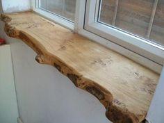 Wood window sill.