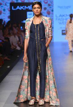 Shop Payal Singhal Khaki bird printed long jacket with navy camisole & palazzos , Exclusive Indian Designer Latest Collections Available at Aza Fashions Lehenga, Anarkali, Churidar, Indian Attire, Indian Wear, Indian Designer Outfits, Designer Dresses, Saris, Indian Dresses