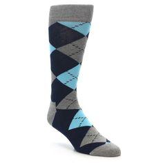 Grey Navy Blue Argyle Men's Dress Socks | boldSOCKS