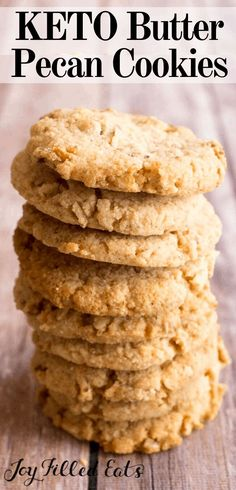 Butter Pecan Cookies - Low Carb, Keto, Gluten-Free, THM S - These Butter Pecan Cookies live up to their name. They are buttery & chock full of pecans. Keto Friendly Desserts, Low Carb Desserts, Low Carb Recipes, Dessert Recipes, Dinner Recipes, Diet Desserts, Dessert Ideas, Lunch Recipes, Baking Recipes