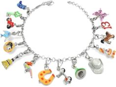 Brightly colored charms create a fun look with a carneval-esque theme. Charms include: a cowboy boot, key, scooter, fish, a gold coin, broom, parrot, horse shoe, Vespa, a witch's hat, a cowboy hat, clown, horse, the number 13 and a butterfly.