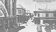 1950, Teatro Nacional, Cafeteria El Buen gusto, frente a Plaza Morazan, San Salvador.
