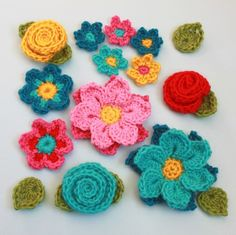 An assortment of crochet flowers in a PDF pattern