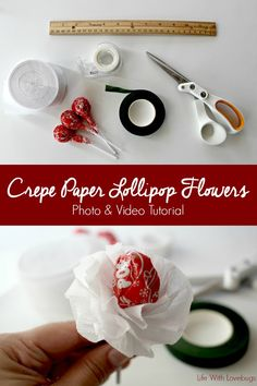 Crepe Paper Lollipop Flowers - Photo and Video Tutorial