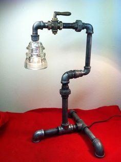 "Vtg Old Steampunk Lamp ""Why?"" Using Found Objects Scrap Iron Metal Art Beauty!"